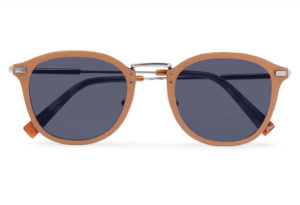 D-Frame Leather and Silver-Tone Sunglasses