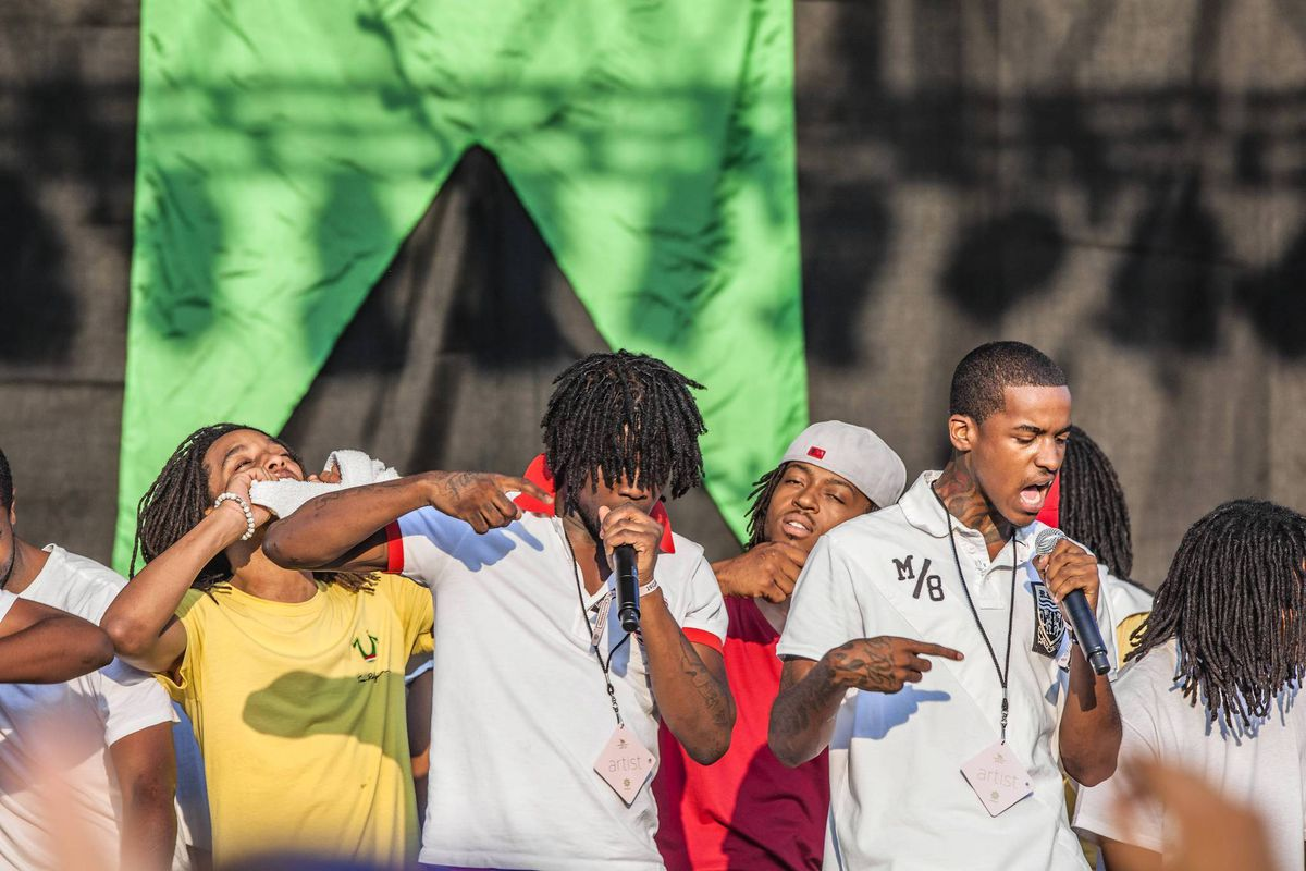 Lil Reese, right, on stage with Chief Keef, left