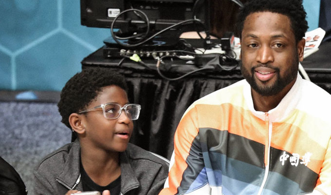 Dwayne Wade, with son Zion