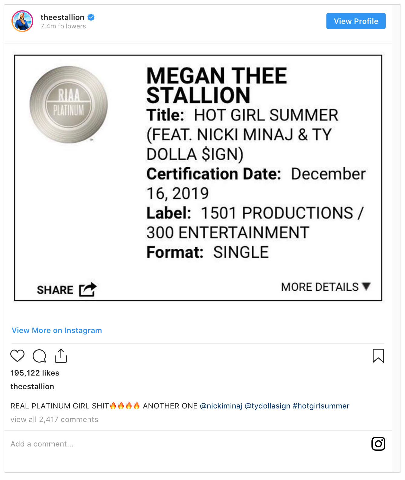 Megan Thee Stallions, Hot Girl Summer goes platinum