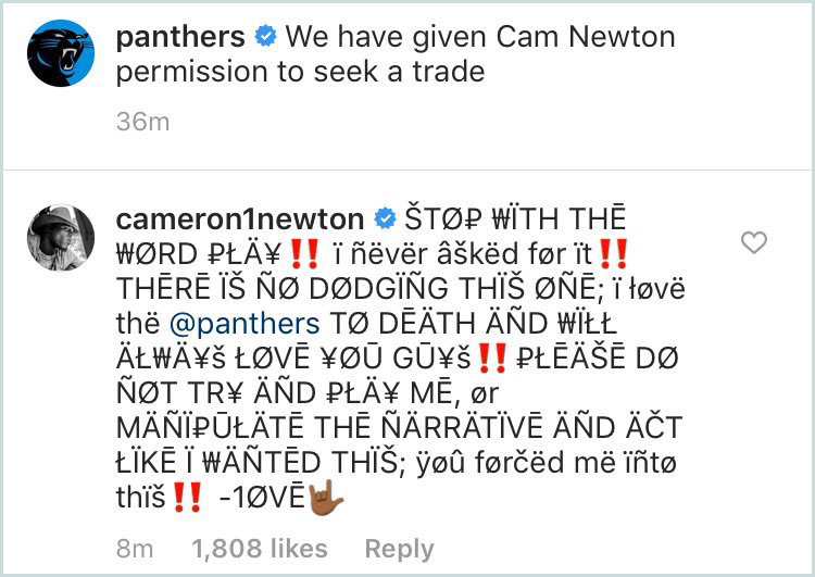 Cam Newton, Panthers trade Twitter post