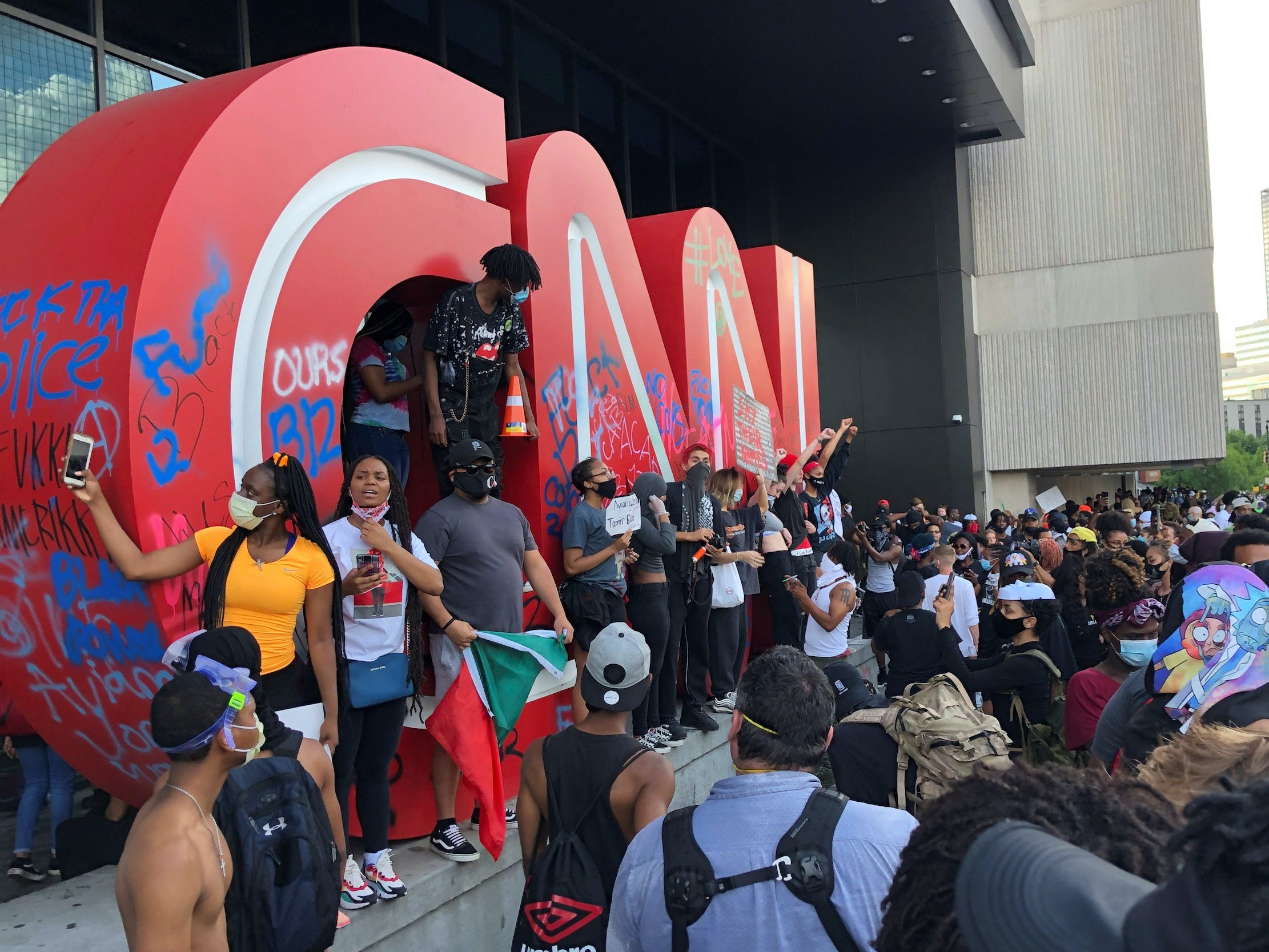 Protesters at CNN headquarters