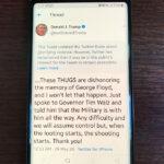 Trump tweets threat of violence