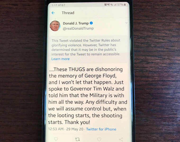 Trump tweets threat of violence