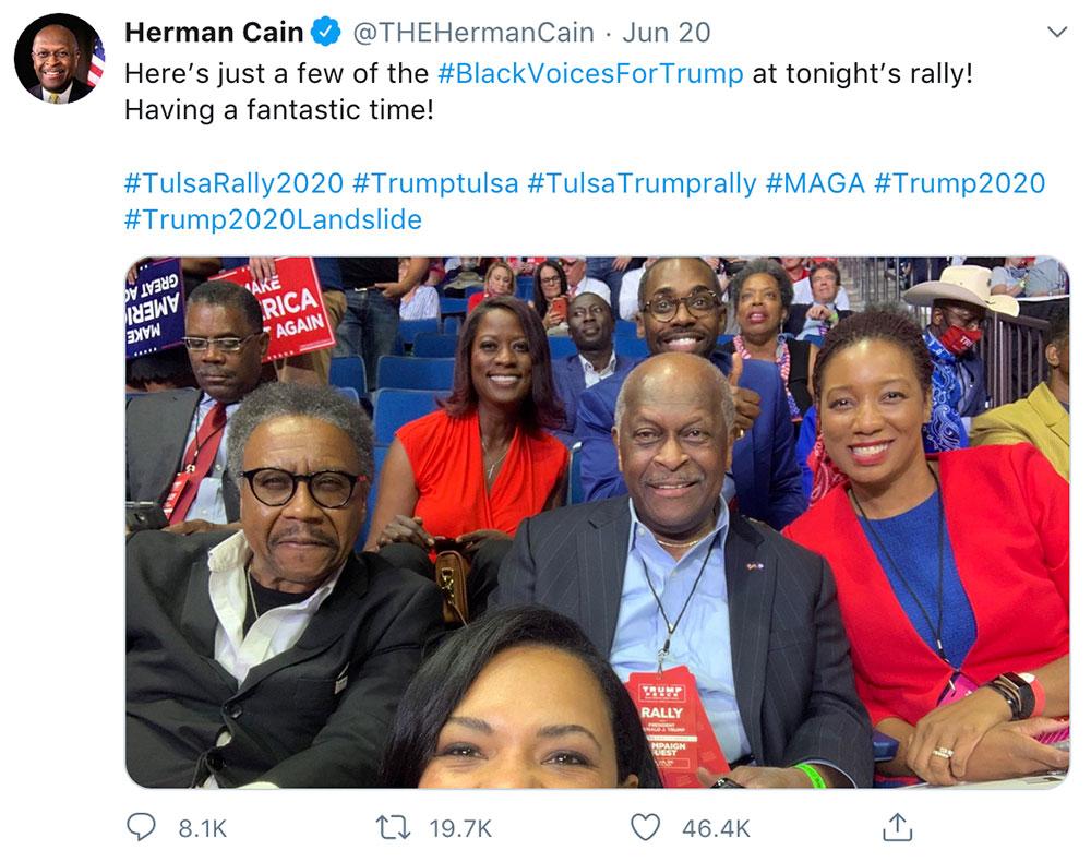 Herman Cain at June 20 Trump rally