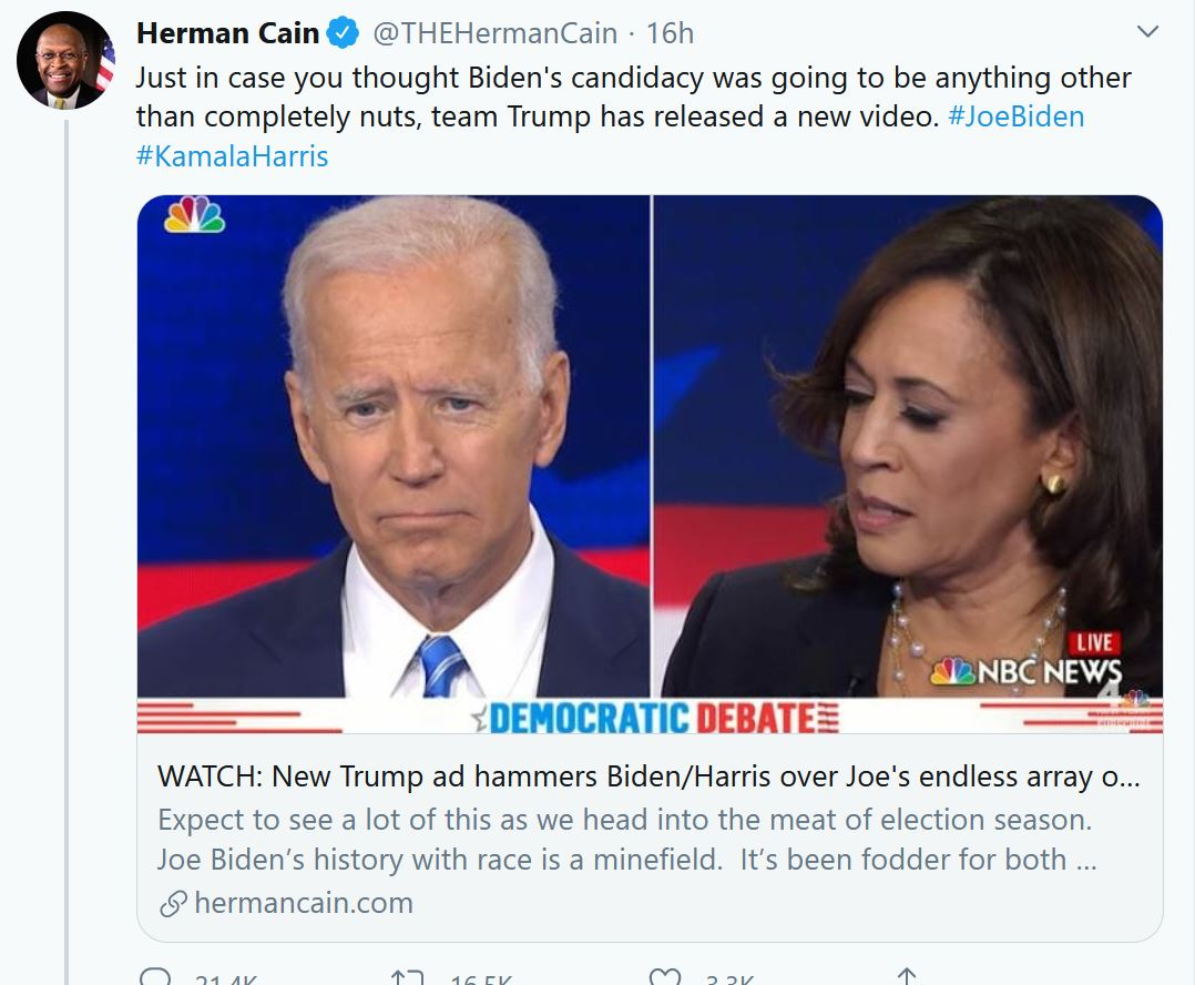 Herman Cain tweets from beyond the grave