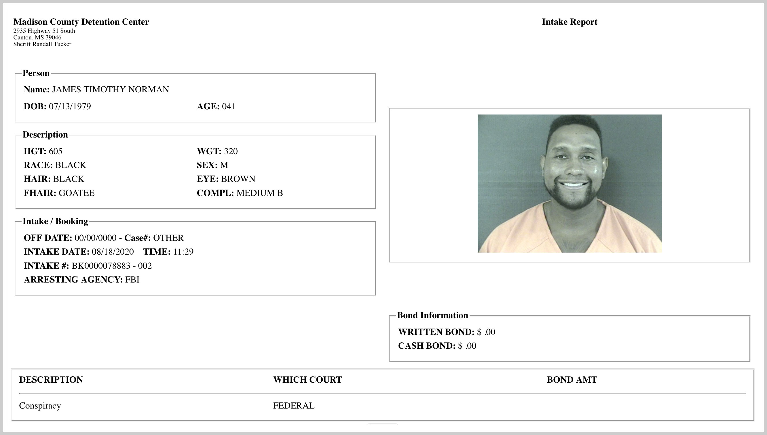 "James ""Tim"" Norman's Madison County Detention Center mugshot"
