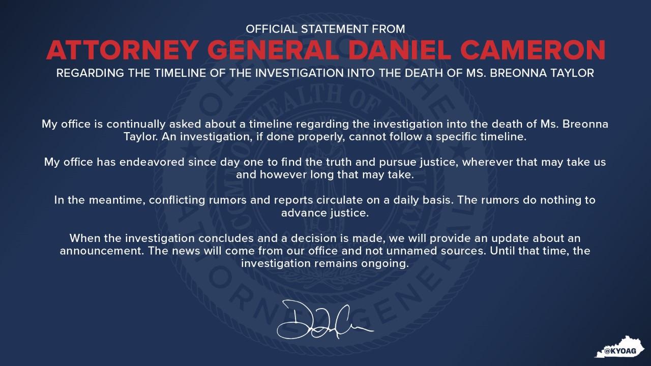 Kentucky Attorney General Daniel Cameron statement on investigation