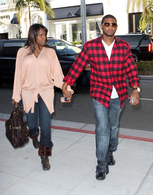 Usher with wife Tameka Foster, 2008