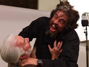 Benicio Del Toro strikes a menacing pose while rehearsing his Wolfman role.
