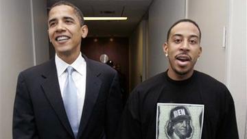 Senator Barack Obama with rapper Ludacris